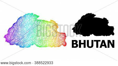 Wire Frame And Solid Map Of Bhutan. Vector Structure Is Created From Map Of Bhutan With Intersected