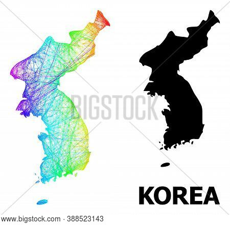 Net And Solid Map Of Korea. Vector Model Is Created From Map Of Korea With Intersected Random Lines,