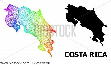 Network And Solid Map Of Costa Rica. Vector Model Is Created From Map Of Costa Rica With Intersected