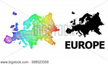 Wire Frame And Solid Map Of Europe. Vector Structure Is Created From Map Of Europe With Intersected