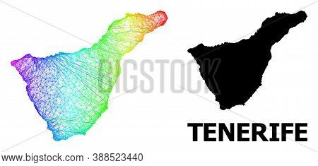 Wire Frame And Solid Map Of Tenerife Island. Vector Model Is Created From Map Of Tenerife Island Wit