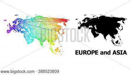 Wire Frame And Solid Map Of Europe And Asia. Vector Structure Is Created From Map Of Europe And Asia