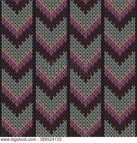 Cotton Downward Arrow Lines Knitting Texture Geometric Vector Seamless. Carpet Knitwear Fabric Print