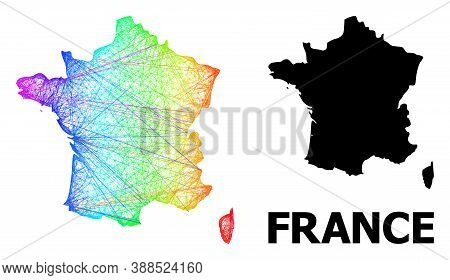 Wire Frame And Solid Map Of France. Vector Structure Is Created From Map Of France With Intersected