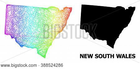 Wire Frame And Solid Map Of New South Wales. Vector Model Is Created From Map Of New South Wales Wit