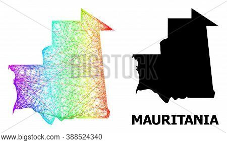 Wire Frame And Solid Map Of Mauritania. Vector Model Is Created From Map Of Mauritania With Intersec
