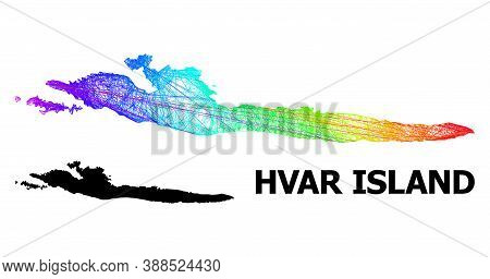 Wire Frame And Solid Map Of Hvar Island. Vector Structure Is Created From Map Of Hvar Island With In