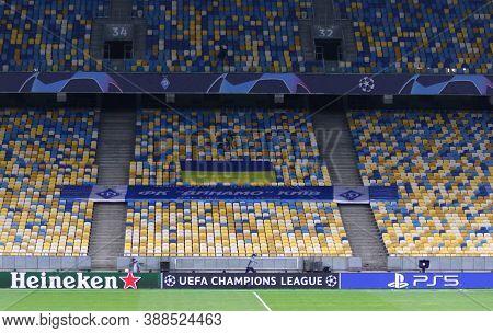 Kyiv, Ukraine - September 29, 2020: Empty Tribunes Of Nsc Olimpiyskyi Stadium In Kyiv During The Uef
