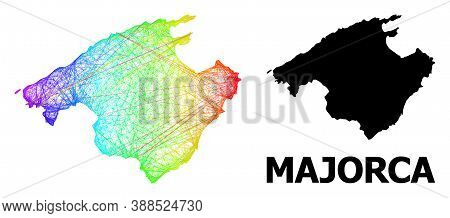 Wire Frame And Solid Map Of Majorca. Vector Structure Is Created From Map Of Majorca With Intersecte