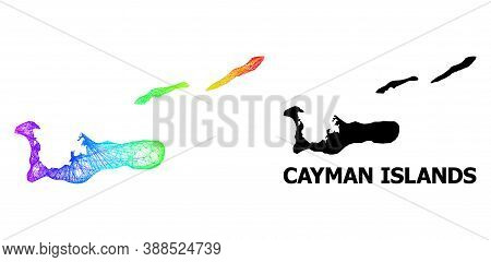 Wire Frame And Solid Map Of Cayman Islands. Vector Structure Is Created From Map Of Cayman Islands W