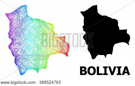 Wire Frame And Solid Map Of Bolivia. Vector Model Is Created From Map Of Bolivia With Intersected Ra