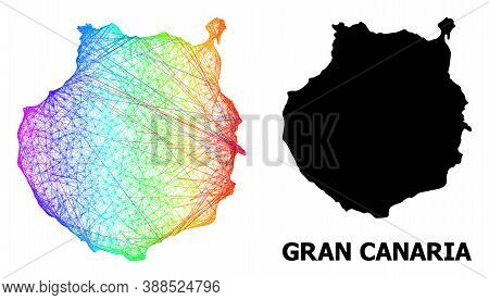 Wire Frame And Solid Map Of Gran Canaria. Vector Structure Is Created From Map Of Gran Canaria With