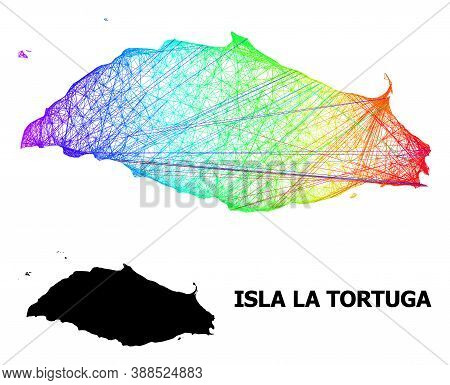 Wire Frame And Solid Map Of Isla La Tortuga. Vector Structure Is Created From Map Of Isla La Tortuga