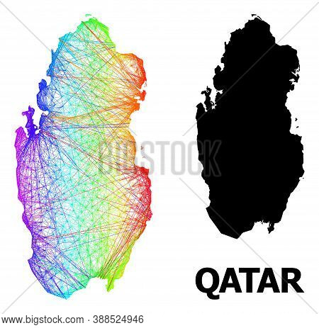 Network And Solid Map Of Qatar. Vector Structure Is Created From Map Of Qatar With Intersected Rando