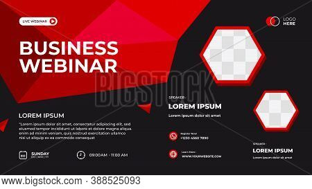 Vector Graphic Of Red Geometric Background. Suitable For Web Banner, Business Webinar, Seminar, Corp