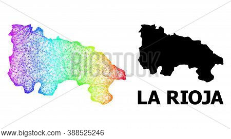 Wire Frame And Solid Map Of La Rioja Spanish Province. Vector Structure Is Created From Map Of La Ri