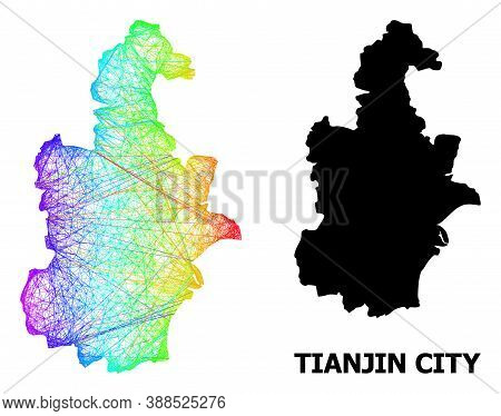 Wire Frame And Solid Map Of Tianjin Municipality. Vector Structure Is Created From Map Of Tianjin Mu