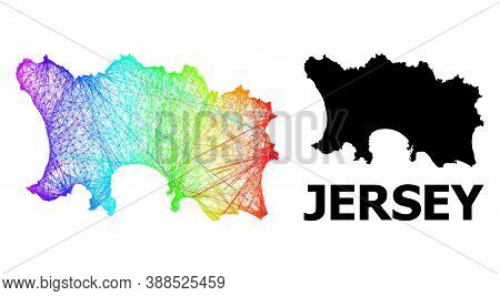 Wire Frame And Solid Map Of Jersey Island. Vector Structure Is Created From Map Of Jersey Island Wit