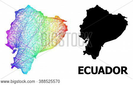 Wire Frame And Solid Map Of Ecuador. Vector Model Is Created From Map Of Ecuador With Intersected Ra
