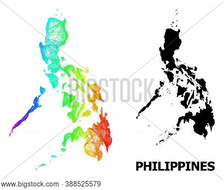 Wire Frame And Solid Map Of Philippines. Vector Model Is Created From Map Of Philippines With Inters