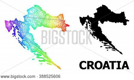 Wire Frame And Solid Map Of Croatia. Vector Structure Is Created From Map Of Croatia With Intersecte