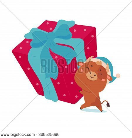 Cute Cartoon Bull Carries Giant Gift. Design Element For Greeting Cards, Stickers, Banners, Prints.