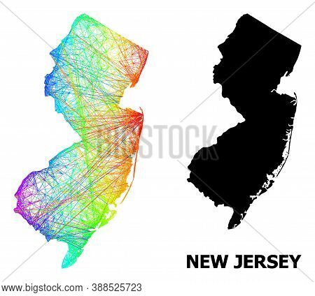 Net And Solid Map Of New Jersey State. Vector Model Is Created From Map Of New Jersey State With Int