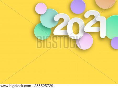 New Year 2021 Paper Cut Numbers In Delicate Colors. Decorative Greeting Card 2021 Happy New Year. Co
