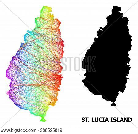 Net And Solid Map Of Saint Lucia Island. Vector Model Is Created From Map Of Saint Lucia Island With