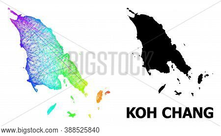 Net And Solid Map Of Koh Chang. Vector Model Is Created From Map Of Koh Chang With Intersected Rando