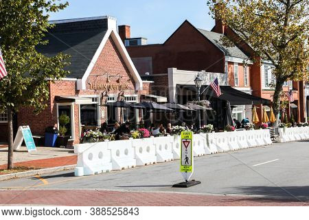 NEW CANAAN, CT, USA - OCTOBER 4, 2020: Le Pain Quotidien restaurant in New Canaan downtown on Elm Street