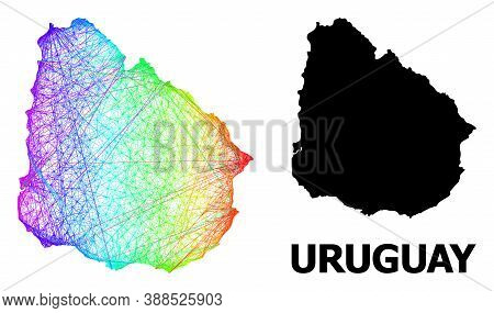 Net And Solid Map Of Uruguay. Vector Model Is Created From Map Of Uruguay With Intersected Random Li