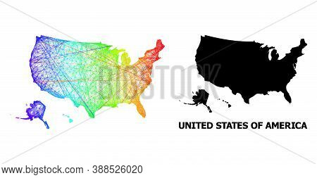 Wire Frame And Solid Map Of Usa Territories. Vector Model Is Created From Map Of Usa Territories Wit