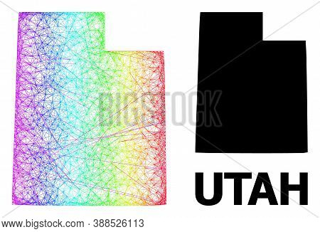 Wire Frame And Solid Map Of Utah State. Vector Model Is Created From Map Of Utah State With Intersec