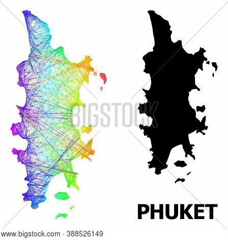 Wire Frame And Solid Map Of Phuket. Vector Structure Is Created From Map Of Phuket With Intersected
