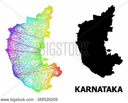 Net And Solid Map Of Karnataka State. Vector Structure Is Created From Map Of Karnataka State With I