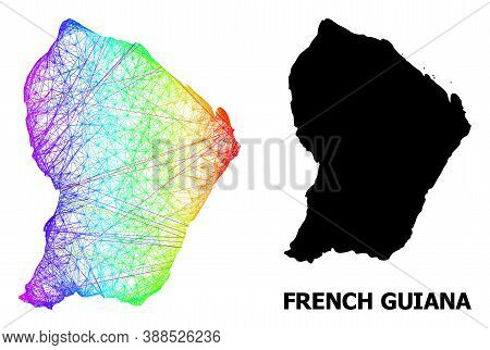 Wire Frame And Solid Map Of French Guiana. Vector Model Is Created From Map Of French Guiana With In