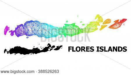 Wire Frame And Solid Map Of Indonesia - Flores Islands. Vector Model Is Created From Map Of Indonesi