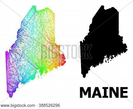 Network And Solid Map Of Maine State. Vector Model Is Created From Map Of Maine State With Intersect