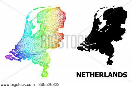 Wire Frame And Solid Map Of Netherlands. Vector Model Is Created From Map Of Netherlands With Inters