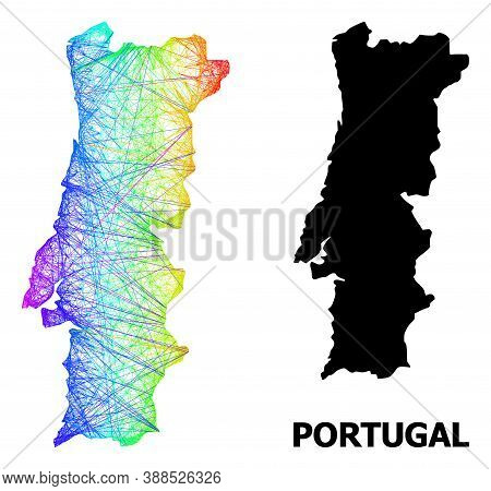 Wire Frame And Solid Map Of Portugal. Vector Structure Is Created From Map Of Portugal With Intersec