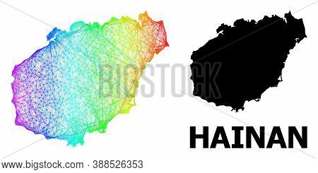 Net And Solid Map Of Hainan Island. Vector Model Is Created From Map Of Hainan Island With Intersect