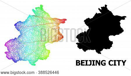 Wire Frame And Solid Map Of Beijing Municipality. Vector Model Is Created From Map Of Beijing Munici
