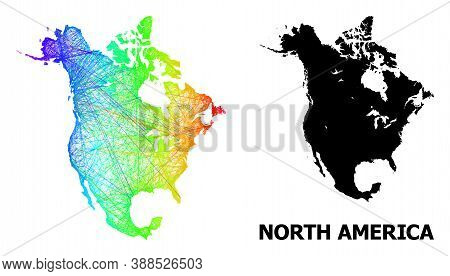 Wire Frame And Solid Map Of North America. Vector Model Is Created From Map Of North America With In
