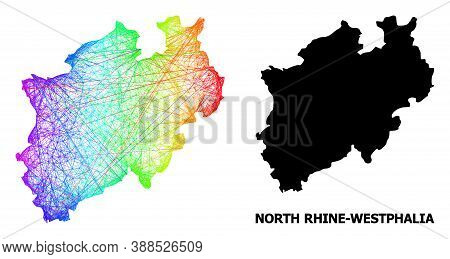 Wire Frame And Solid Map Of North Rhine-westphalia State. Vector Model Is Created From Map Of North