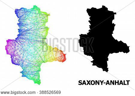 Wire Frame And Solid Map Of Saxony-anhalt State. Vector Model Is Created From Map Of Saxony-anhalt S