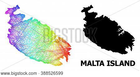 Net And Solid Map Of Malta Island. Vector Structure Is Created From Map Of Malta Island With Interse