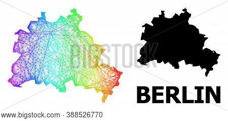 Wire Frame And Solid Map Of Berlin City. Vector Structure Is Created From Map Of Berlin City With In
