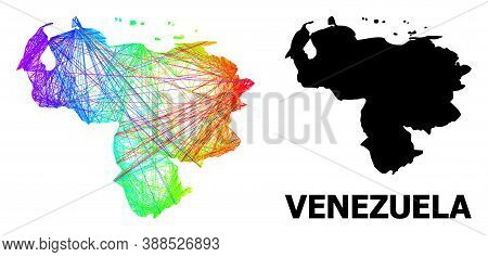 Wire Frame And Solid Map Of Venezuela. Vector Model Is Created From Map Of Venezuela With Intersecte