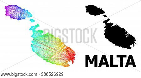 Wire Frame And Solid Map Of Malta. Vector Structure Is Created From Map Of Malta With Intersected Ra